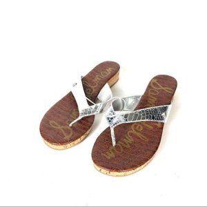 Sam Edelman sandals flip flop wedge silver TANYA
